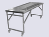 Mobile wash and dissection table, foldable, 220 cm length
