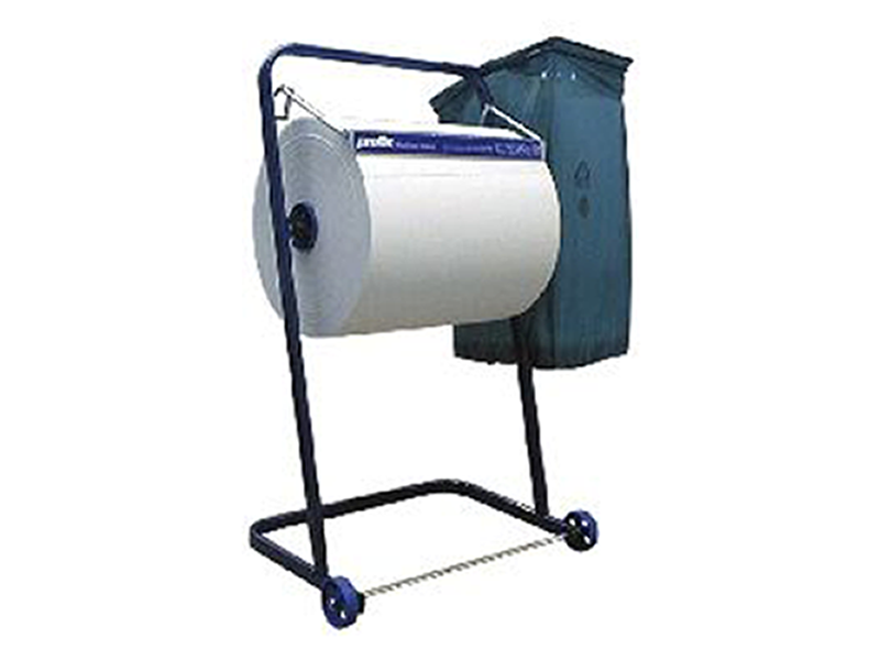 Cleaning paper roller stand with waste bag holder, metal, blue, up ...