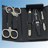 Nail care set, leather black, 5 parts